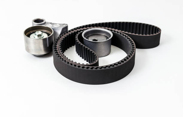 kit of timing belt with rollers. auto parts. - timer stock photos and pictures