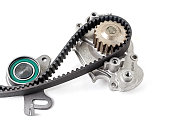 istock Kit of timing belt with rollers on a white background isolated. Auto Parts. Spare parts. 1157813546