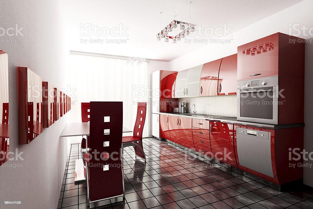 Cozinha 3d render - Foto de stock de Apartamento royalty-free