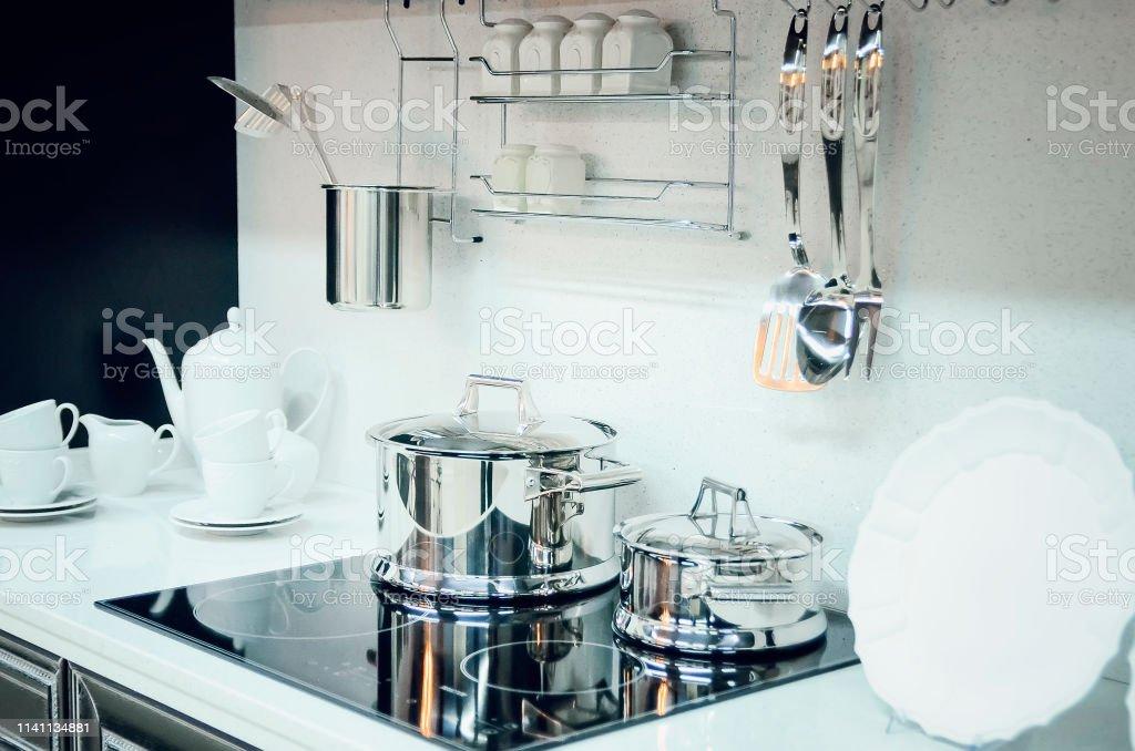 Kitchen Accessories Dishes Modern Kitchen Interior Stock ...