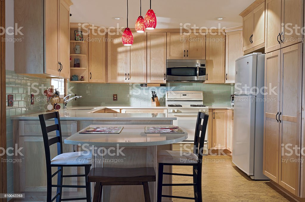 Kitchen and Decorations after Remodel stock photo