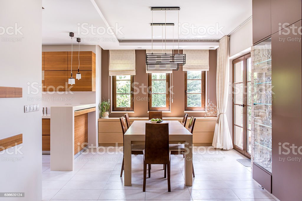 Kitchen and dining room design stock photo