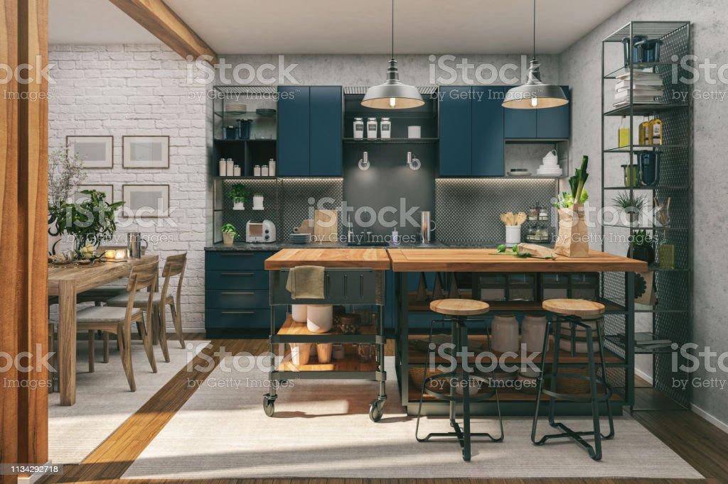 Kök och matsal - Royaltyfri Arkitektur Bildbanksbilder