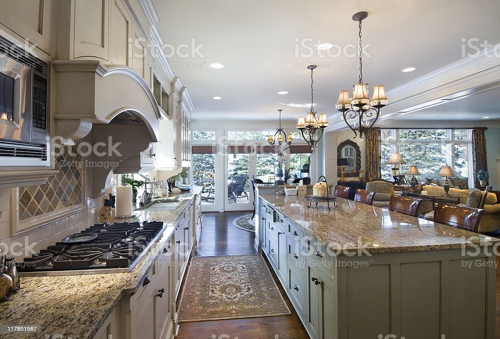 Kitchen and great room stock photo