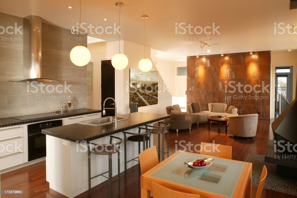 kitchen and livingroom royalty-free stock photo