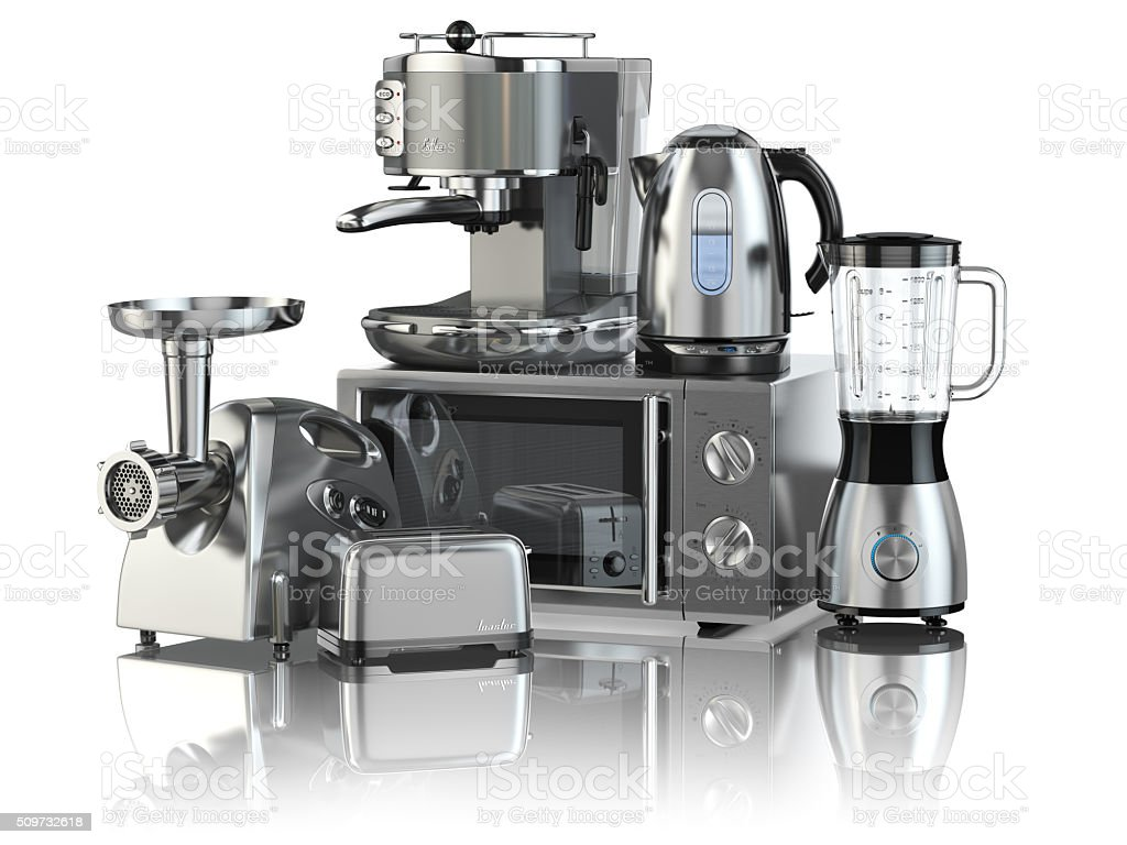 Kitchen appliances. Blender, toaster, coffee machine, meat ginde stock photo