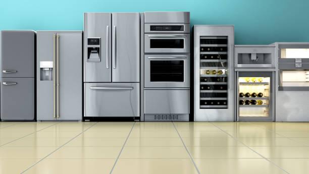 kitchen appliances in supermarcket 3d render image stock photo