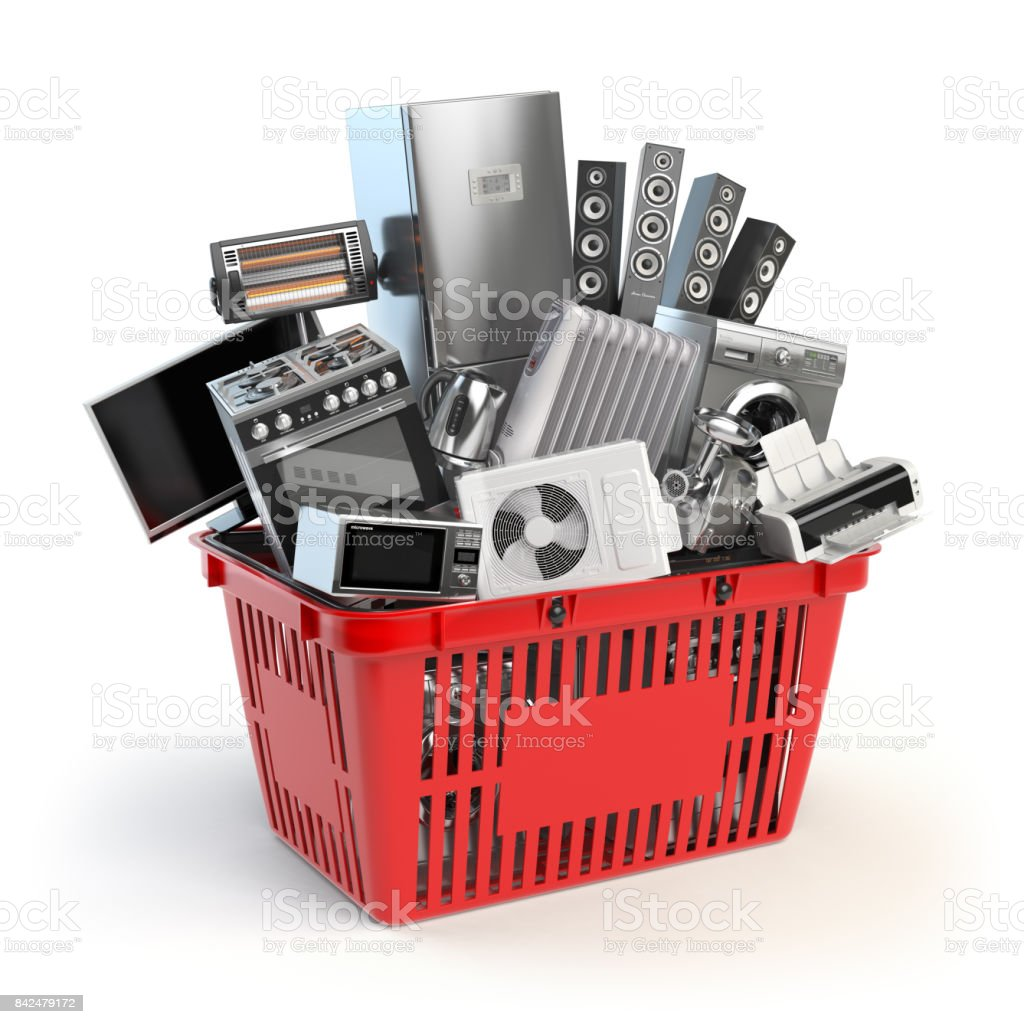 Kitchen appliances in the shopping basket. Online e-commerce concept. stock photo