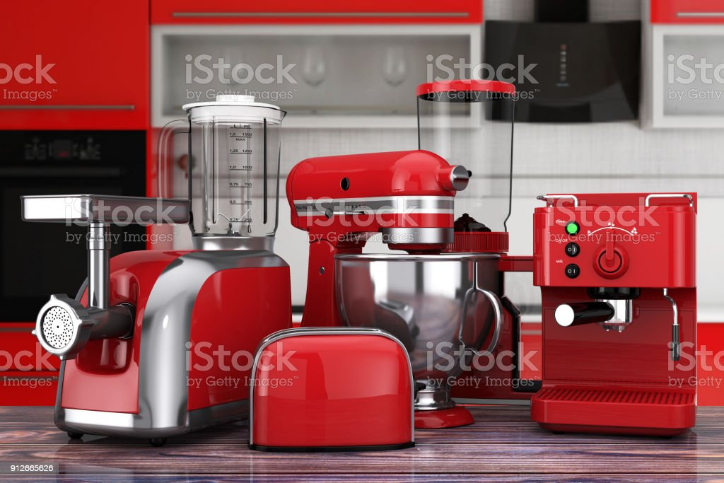 Exceptional Kitchen Appliances Set. Red Blender, Toaster, Coffee Machine, Meat Ginder,  Food