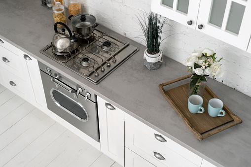 Kitchen at home with white modern interior