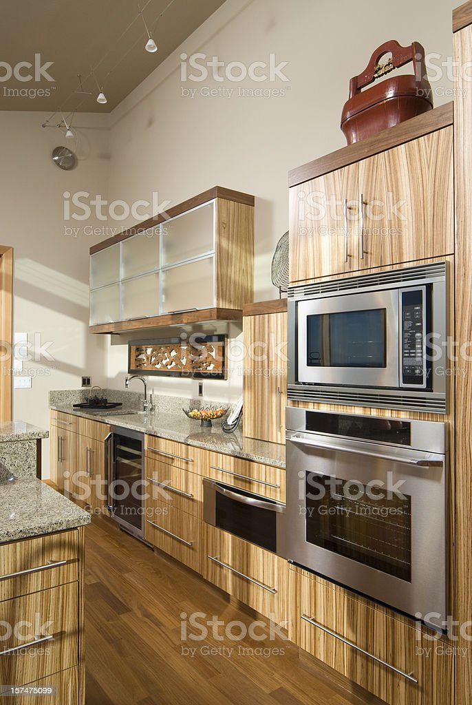 Kitchen, bamboo cabinets stock photo