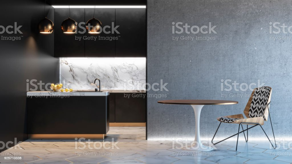 Kitchen black minimalistic interior with table chair lamp marble floor concrete wall. 3d render illustration mock up. royalty-free stock photo