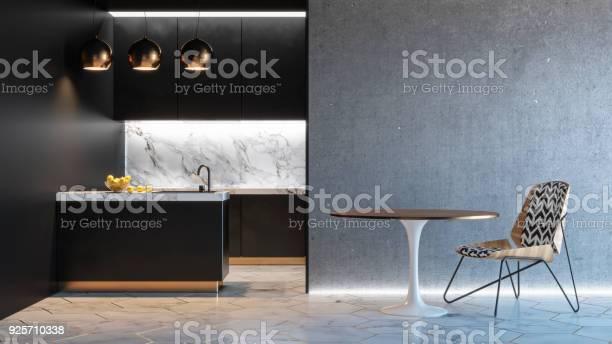 Kitchen black minimalistic interior with table chair lamp marble picture id925710338?b=1&k=6&m=925710338&s=612x612&h=eczzxjxeyxbiqz4ed6z97fscidy kwv1guwjocbexvu=