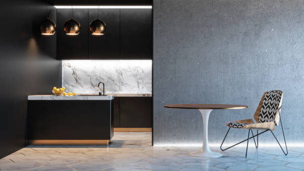 Kitchen black minimalistic interior with table chair lamp marble picture id925710338?b=1&k=6&m=925710338&s=612x612&w=0&h=urkibzegm a6oiyfyb59xdvrgsl3pvaqtow7ftov0rm=