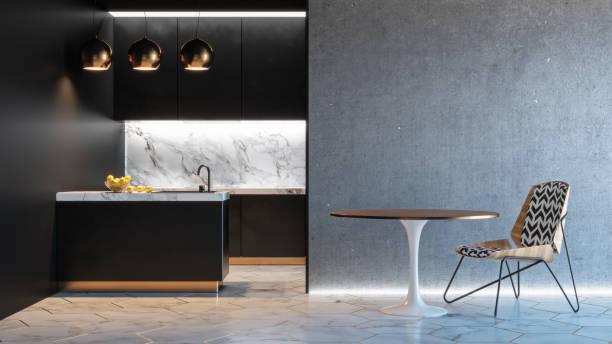 schwarze küche minimalistisches interieur mit tisch stuhl lampe marmorboden betonwand. render 3d-illustration mock-up. - restaurant inneneinrichtung stock-fotos und bilder