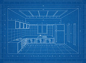 Kitchen blueprint – 3D perspective