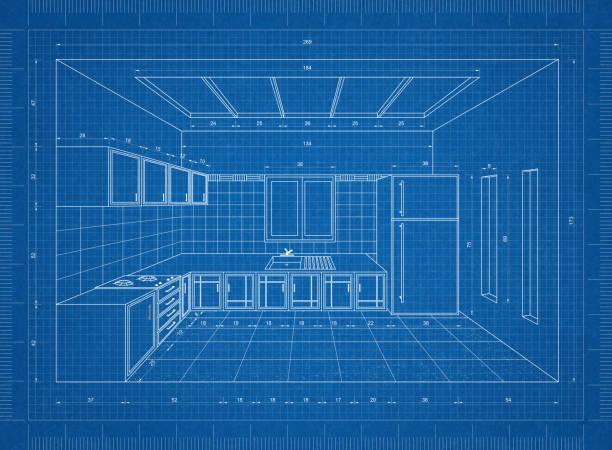 küche blaupause – 3d perspektive - küche neu gestalten ideen stock-fotos und bilder