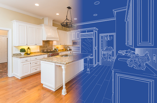 Kitchen Blueprint Drawing Gradating Into Finished Build.
