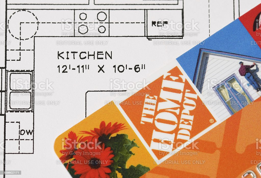 Kitchen blueprint with the home depot credit card stock photo kitchen blueprint with the home depot credit card royalty free stock photo malvernweather Image collections