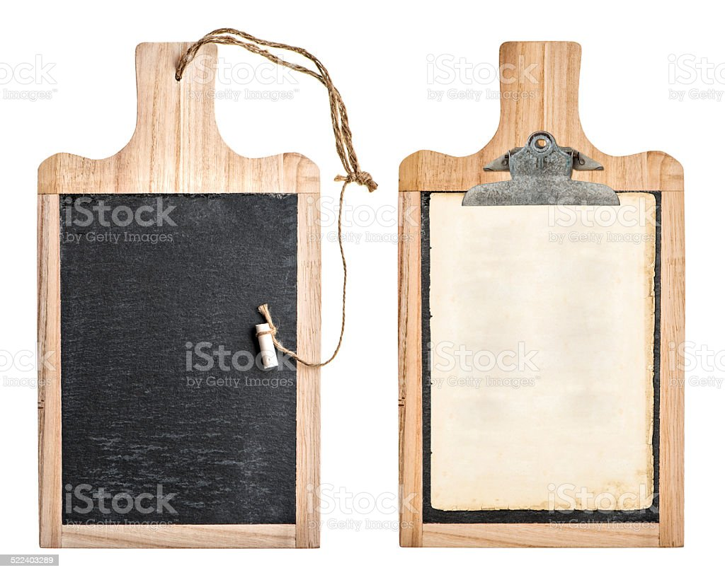 kitchen board with chalkboard and clipboard for recipe stock photo