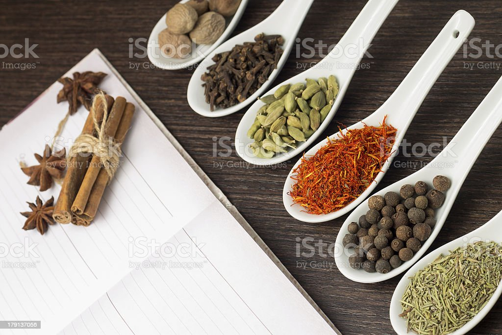 Kitchen book with various of Spices royalty-free stock photo