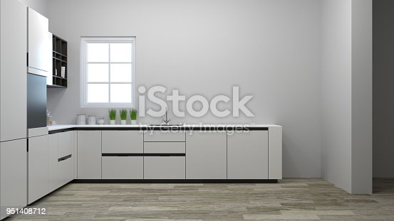 kitchen cabinet interior cooking white table,modern food restaurant 3D Illustration home design for copy space background