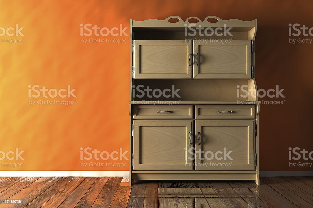 Kitchen cabinet render (CGI) royalty-free stock photo