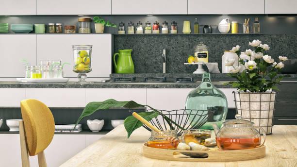 küche-nahaufnahme - offene regale stock-fotos und bilder