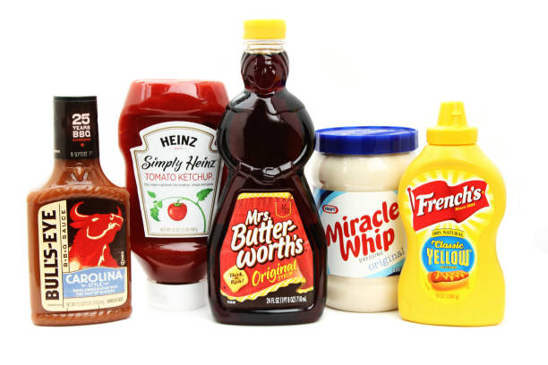 kitchen condiment staples - heinz stock photos and pictures