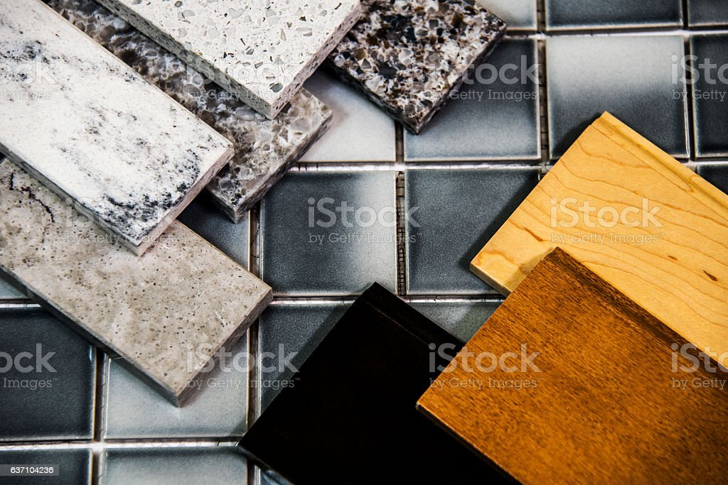 Kitchen Counter Kitchen Cabinets And Tile Floor Color Samples Stock