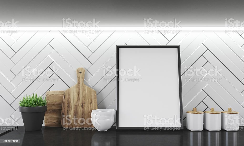 Kitchen counter surface with photo stock photo