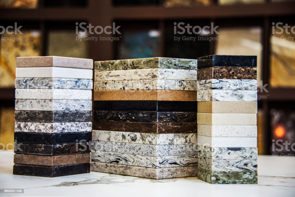 Kitchen counter top color samples, granite, marble and quartz stock photo