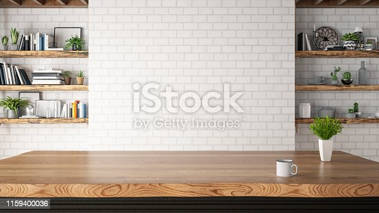 istock Kitchen Counter with Empty Wall 1159400036