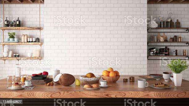 Kitchen counter with foods and empty white brick wall picture id1146540827?b=1&k=6&m=1146540827&s=612x612&h=miacwvuonwita 4a 7ysxmi0t2wwnllbt3iizufdc0i=