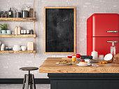 Modern kitchen counter. 3D Render