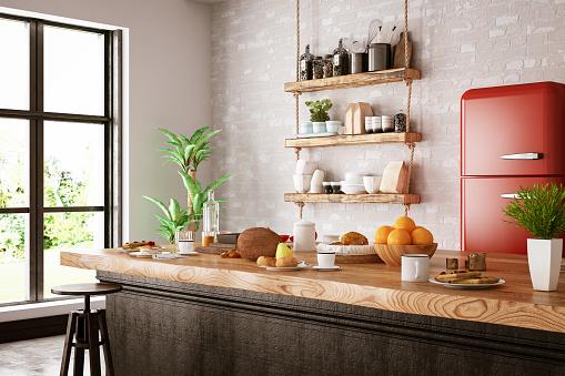 Loft wooden kitchen design
