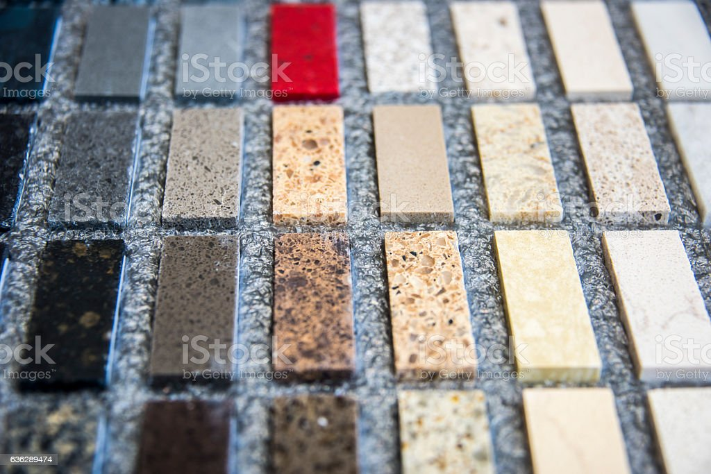 Kitchen countertop samples stock photo