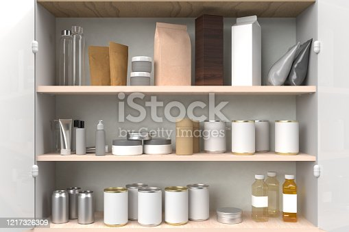 Kitchen cupboard filled with blank label products, various containers.