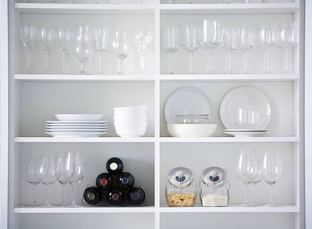 kitchen cupboard, interior design in white color - glas porslin bildbanksfoton och bilder