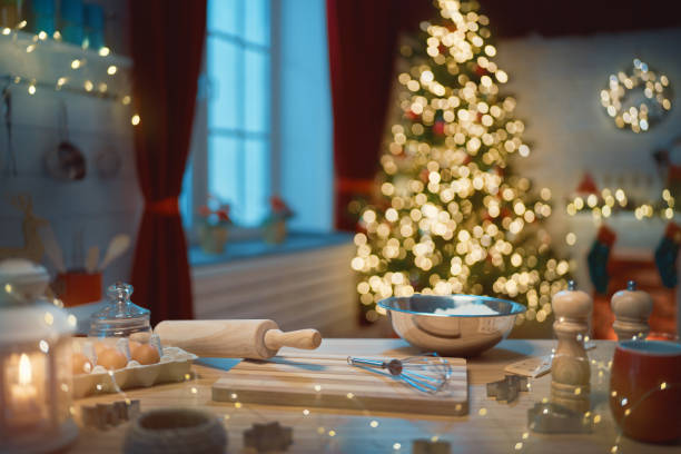 kitchen  decorated for holidays. stock photo