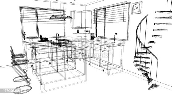 3d Kitchen Design Using A Cad Software Program Stock Photo