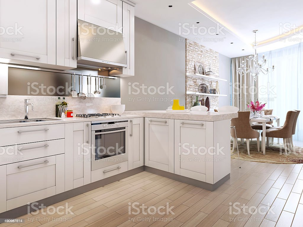 kitchen diner in neoclassical style stock photo