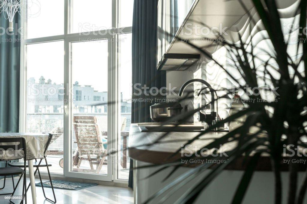 Cocina Salón Comedor Apartamento Moderno Reparación Diseño ...