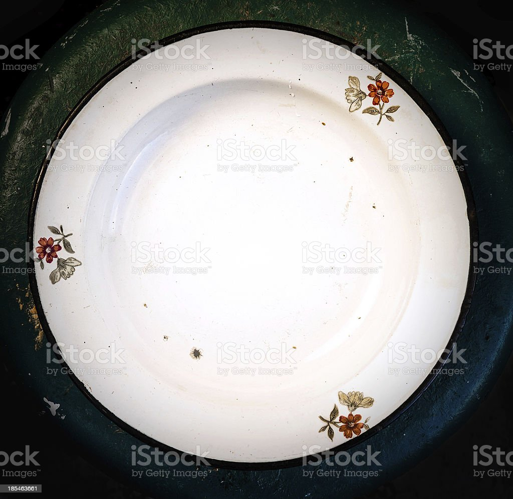 Kitchen Empty rustic white plate on vintage old wooden royalty-free stock photo