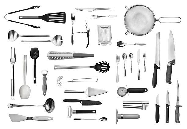 kitchen equipment and cutlery set - keukengereedschap stockfoto's en -beelden