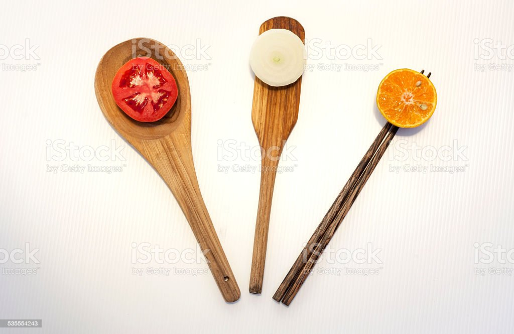 Kitchen equiptment with vegetable and fruit royalty-free stock photo