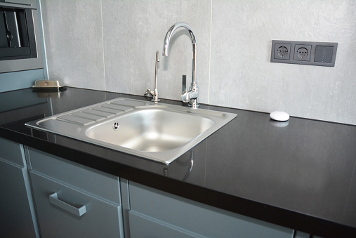 Kitchen Faucet And Metal Sink Modern Kitchen Stock Photo - Download Image  Now