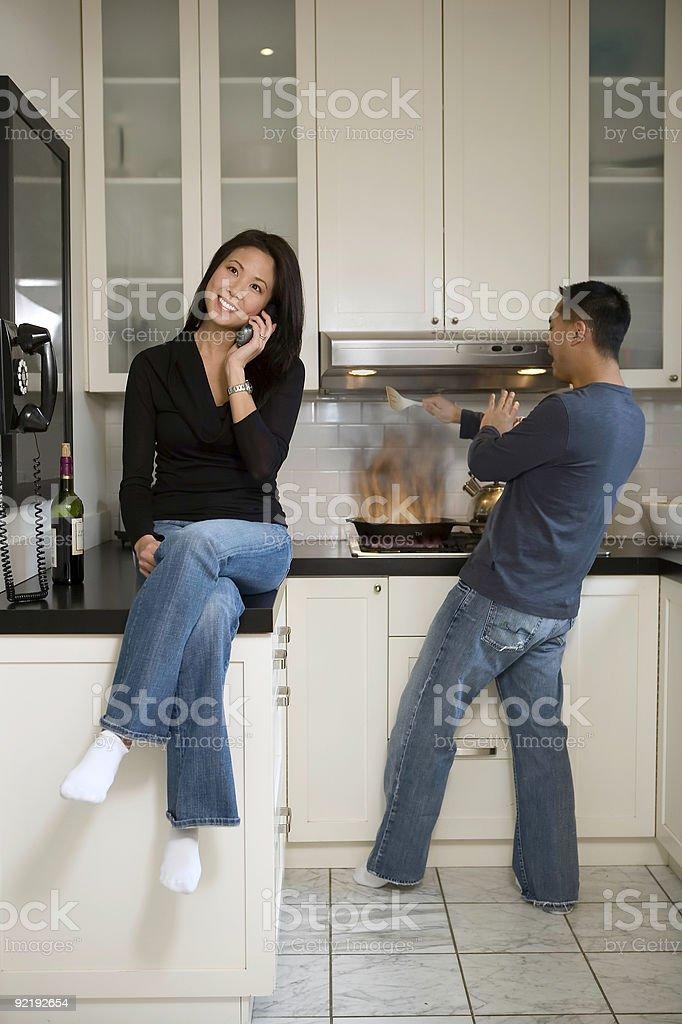 kitchen fire stock photo