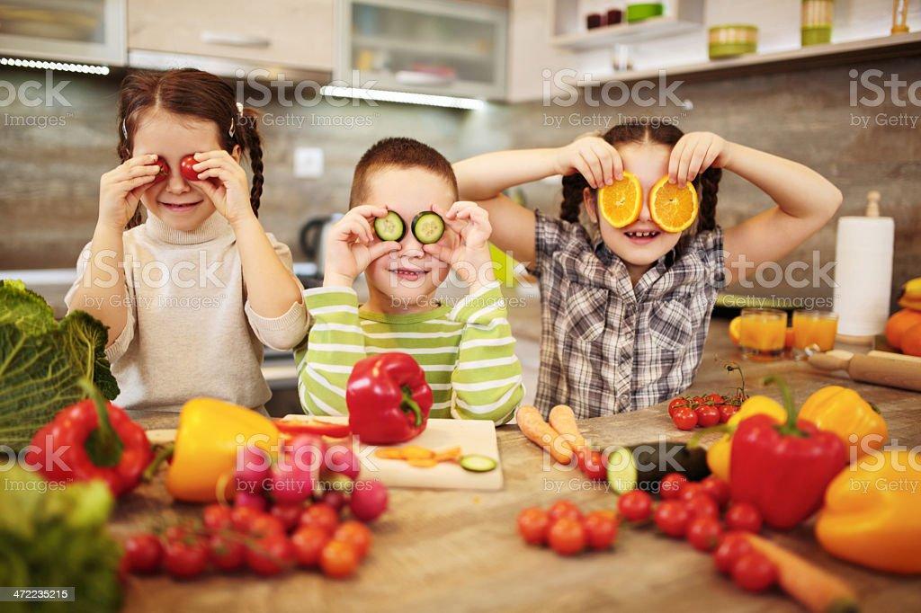 Kitchen fun. stock photo