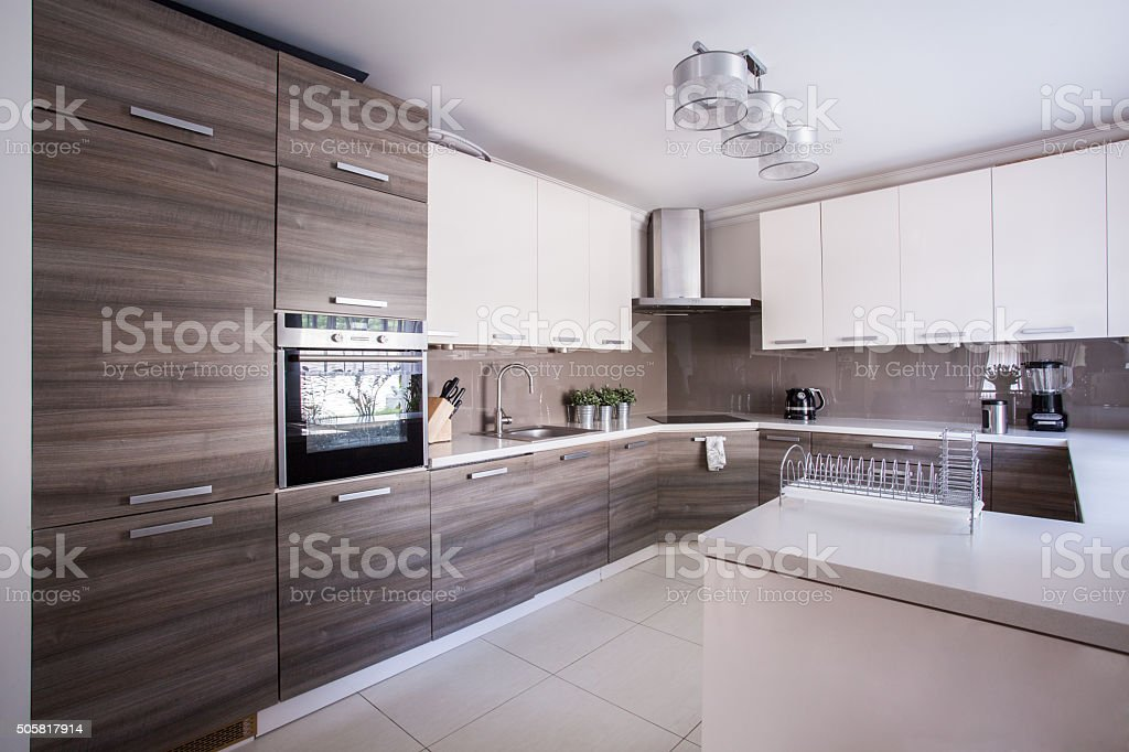 Kitchen furnished in modern design stock photo